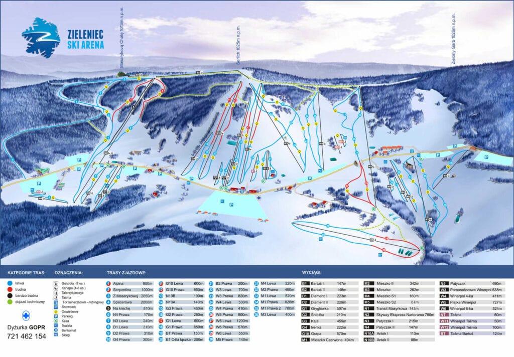 Trasy i wyciągi Zieleniec Ski Arena